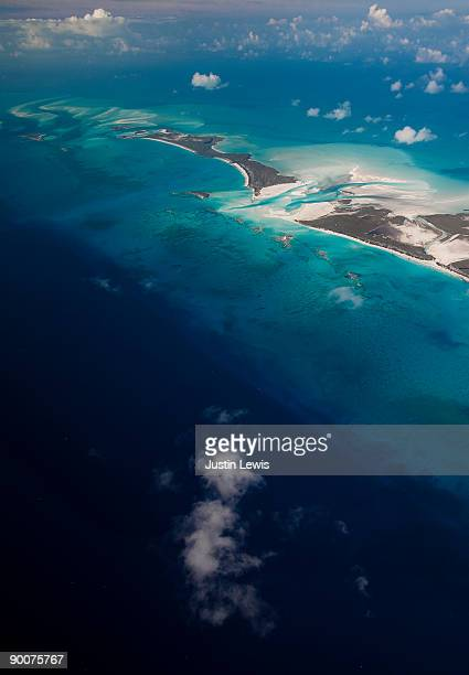 Areal shot of the Exumas in the Bahamas