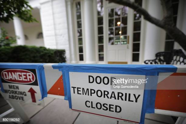 Areas in the Rose Garden are closed off during renovation work at the White House August 11 2017 in Washington DC The Government Services...