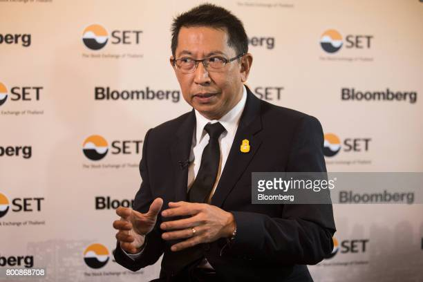 Areepong BhoochaOom chairman of Thai Airways International Pcl speaks during a Bloomberg Television interview on the sidelines of the Thailand's Big...