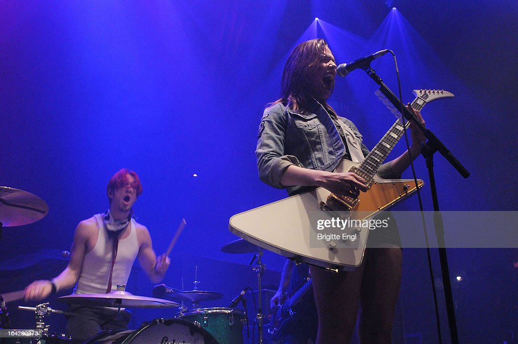 <a gi-track='captionPersonalityLinkClicked' href=/galleries/search?phrase=Arejay+Hale&family=editorial&specificpeople=5877262 ng-click='$event.stopPropagation()'>Arejay Hale</a> and Lizzy Hale of Halestorm perform on stage at The Roundhouse on March 17, 2013 in London, England.