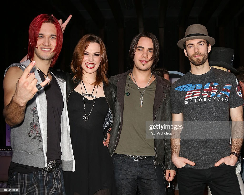 Arejay Hale, Lzzy Hale, Joe Hottinger and Josh Smith of the Metal Band Halestorm attend the 5th annual Revolver Golden Gods Awards nominee announcements at the Hard Rock Cafe Hollywood on January 30, 2013 in Hollywood, California.