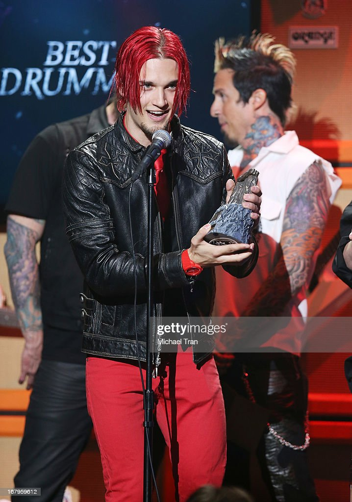 <a gi-track='captionPersonalityLinkClicked' href=/galleries/search?phrase=Arejay+Hale&family=editorial&specificpeople=5877262 ng-click='$event.stopPropagation()'>Arejay Hale</a> of Halestorm receives the 'Best Drummer' award at the 5th Annual Revolver Golden Gods Award Show held at Club Nokia on May 2, 2013 in Los Angeles, California.