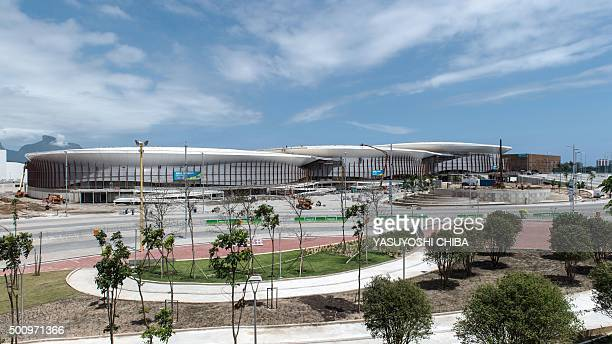 Arena Carioca 32 and 1 venues for the Rio 2016 Olympic Games are seen at the Olympic Park in Rio de Janeiro Brazil on December 11 2015 AFP PHOTO /...