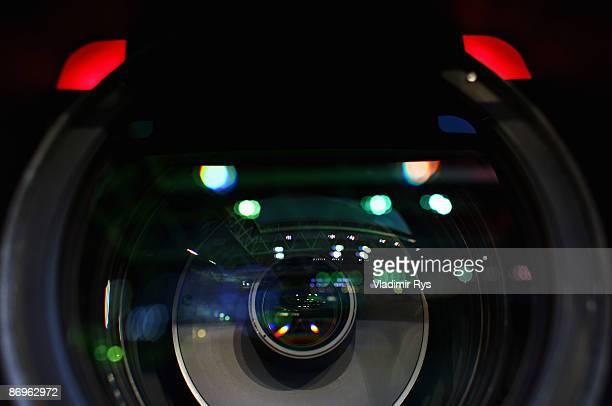 Arena is seen reflected in the camera lens prior to the Bundesliga match between Bayer Leverkusen and Arminia Bielefeld at LTU Arena on May 8 2009 in...