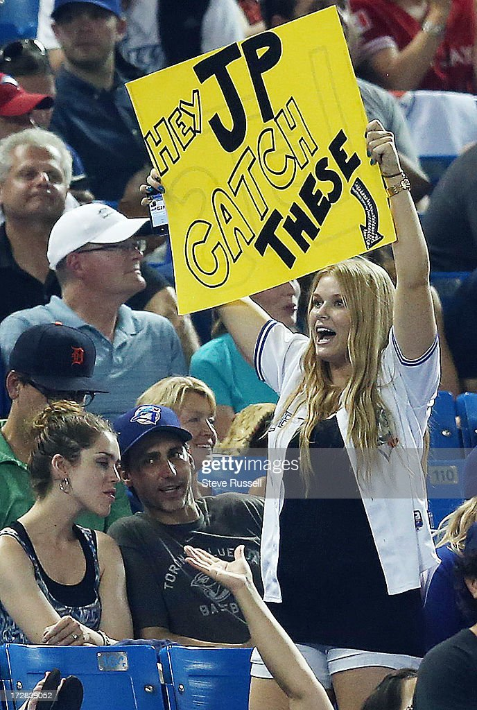 P. Arencibia fan lets her feelings be known as the Toronto Blue Jays lose 11-1 to the Detroit Tigers at Rogers Centre.
