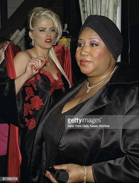 Aretha Franklin and Anna Nicole Smith backstage during the Lane Bryant Fashion Show at Studio 54