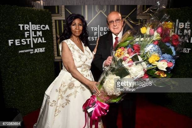 Aretha Franklin and Clive Davis pose for a portrait backstage at the 'Clive Davis The Soundtrack of Our Lives' Premiere during the 2017 Tribeca Film...