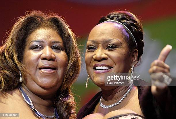 Aretha Franklin and Patti LaBelle during Tom Joyner's 'Mistletoe Jam' Comes to Detroit December 10 2005 at Joe Louis Arena in Detroit MI United States