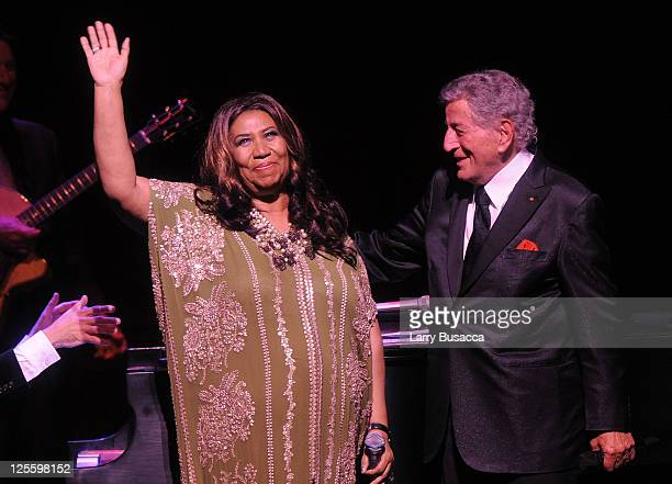 Aretha Franklin and Tony Bennett perform onstage during Tony Bennett's 85th Birthday Gala Benefit for Exploring the Arts at The Metropolitan Opera...