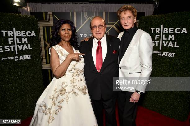 Aretha Franklin Clive Davis and Barry Manilow pose for a portrait backstage at the 'Clive Davis The Soundtrack of Our Lives' Premiere during the 2017...