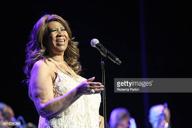 Aretha Franklin performs during the 2014 Festival International de Jazz de Montreal on July 2 2014 in Montreal Canada