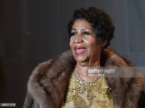 Aretha Franklin poses on the red carpet before the 38th Annual Kennedy Center Honors December 6 2015 in Washington DC AFP PHOTO/MOLLY RILEY / AFP /...