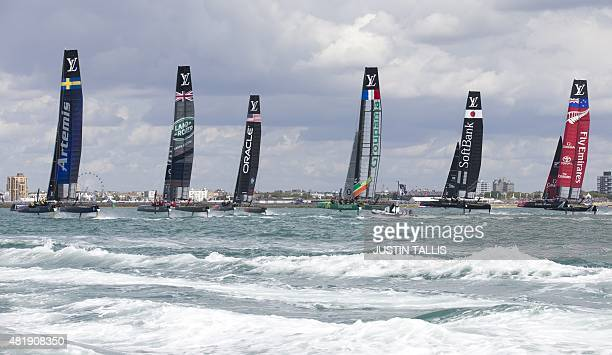Aretmis Racing Land Rover BAR Oracle Team USA Groupama Team France Softbank Team Japan and Emirates Team New Zealand compete in the first event of...
