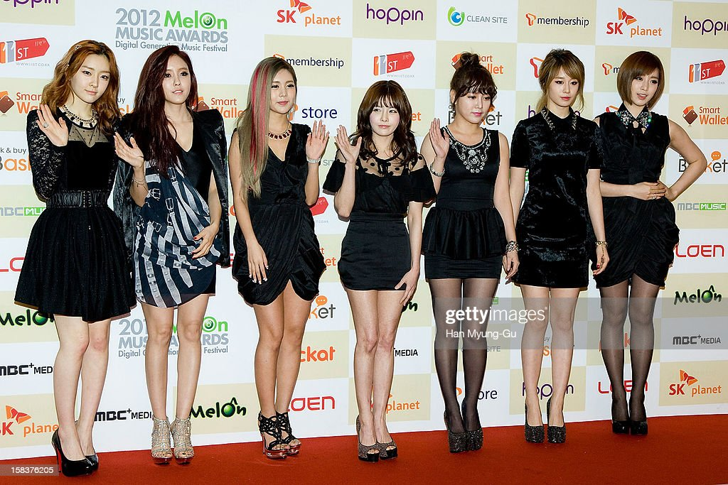 Areum, Hyo-Min (Hyomin), Qri, Bopram, Soyeon (So-Yeon), Ji-Yeon and Eung-Jung of South Korean girl group T-ara arrive at the 2012 Melon Music Awards at Olympic Gymnasium on December 14, 2012 in Seoul, South Korea.