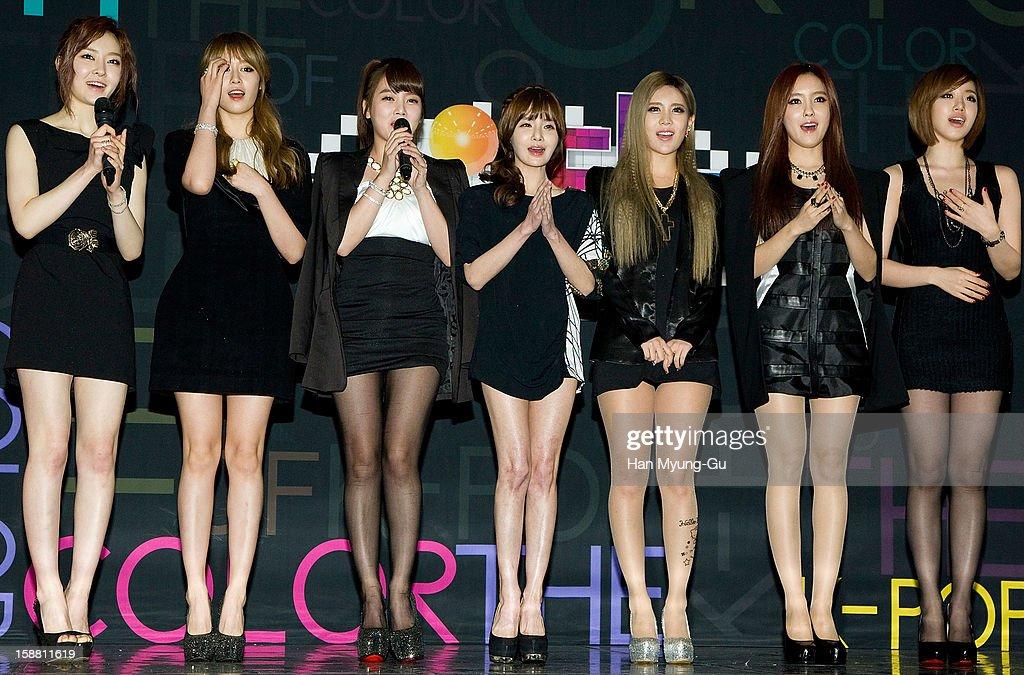 Areum, Jiyeon (Ji-Yeon) and Soyeon (So-Yeon), Boram, Qri, Hyomin (Hyo-Min) and Eunjung (Eun-Jung) of South Korean girl group T-ara arrive at the 2012 SBS Korea Pop Music Festival named 'The Color Of K-Pop' at Korea University on December 29, 2012 in Seoul, South Korea.