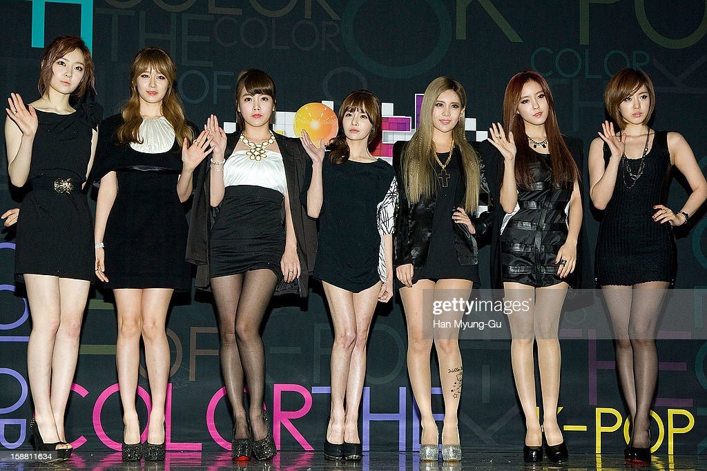 Areum, Jiyeon (Ji-Yeon) and Soyeon (So-Yeon), Boram, Qri, Hyomin (Hyo-Min) and Eunjung (Eun-Jung) of South Korean girl group T-ara arrive at the 2012 SBS Korea Pop Music Festival named 'The Color Of K-Pop' at Korea University on December 29, 2012 in Seoul, South Korea.