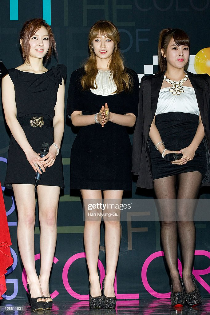 Areum, Jiyeon (Ji-Yeon) and Soyeon (So-Yeon) of South Korean girl group T-ara arrive at the 2012 SBS Korea Pop Music Festival named 'The Color Of K-Pop' at Korea University on December 29, 2012 in Seoul, South Korea.