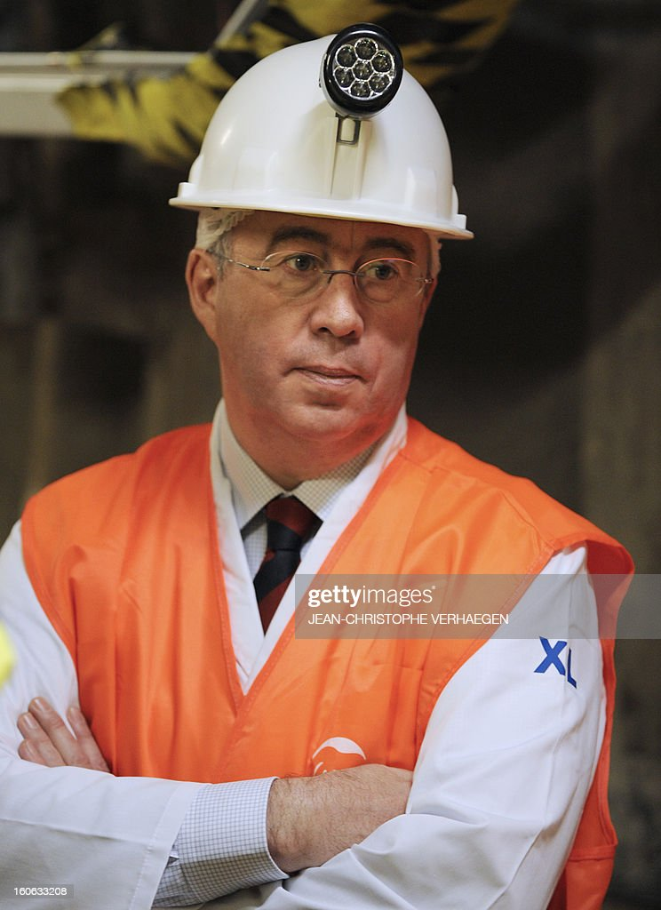 Areva CEO Luc Oursel visits the underground Laboratory operated by the French National Radioactive Waste Management Agency (Andra), on February 4, 2013 in Bure, eastern France. VERHAEGEN