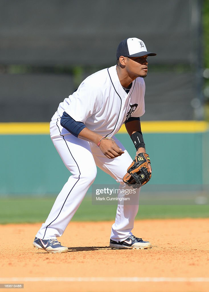 Argenis Diaz #70 of the Detroit Tigers fields during the spring training game against the Toronto Blue Jays at Joker Marchant Stadium on March 6, 2013 in Lakeland, Florida. The Tigers defeated the Blue Jays 4-1.