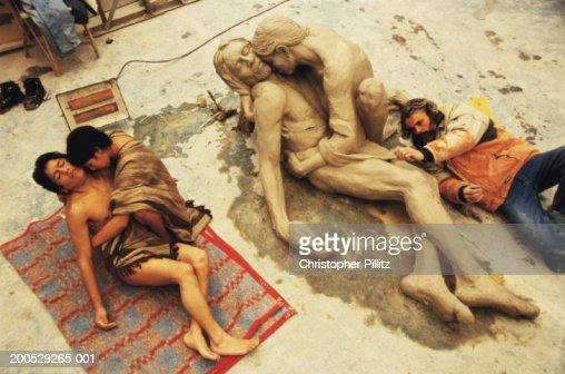 Argentina, artist sculpting couple as Jesus and Mary Magdelene : Stock Photo
