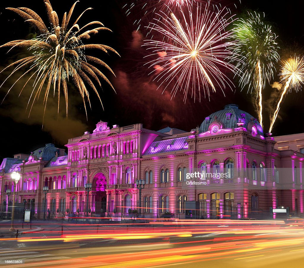 Argentina Buenos Aires Casa Rosada at night with fireworks