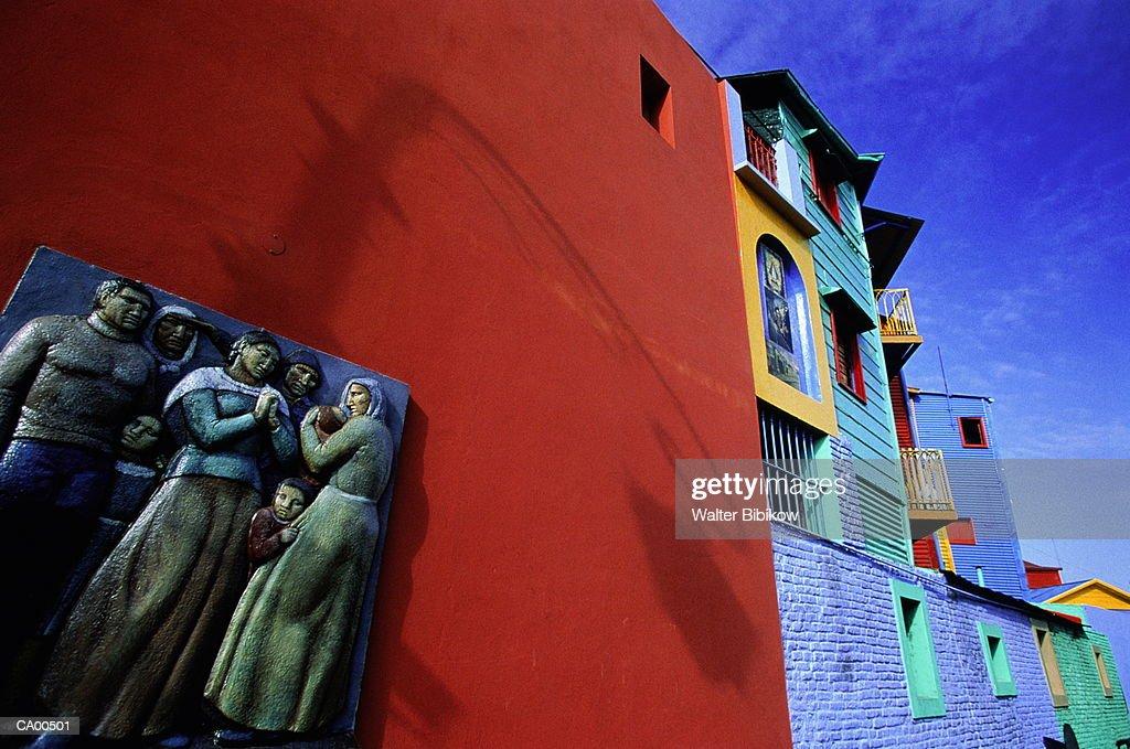 Argentina, Buenos Aires DF, La Boca, artwork on side of building : Stock Photo
