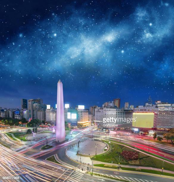 Argentina Buenos Aires downtown with obelisco at night
