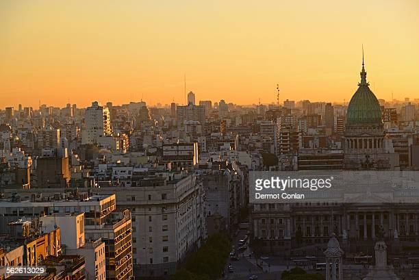 Argentina, Buenos Aires, National Congress Palace and Balvanera barrio at dusk