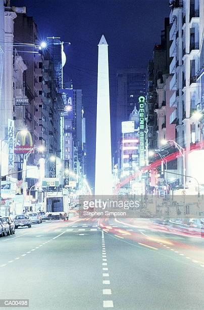 Argentina, Buenos Aires, Obelisk from Avenida Corrientes, night