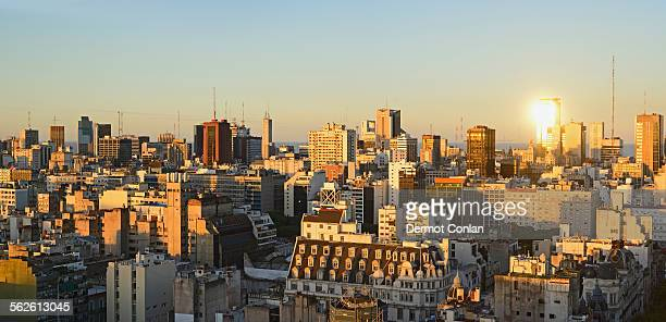 Argentina, Buenos Aires, Panoramic view of cityscape at dusk