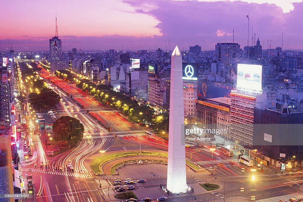 Argentina, Buenos Aires, Plaza de la Republica at dusk, elevated view : Stock Photo
