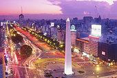 Argentina, Buenos Aires, Plaza de la Republica at dusk, elevated view