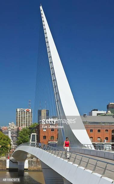 Argentina Buenos Aires Puerto Madero Puente de la Mujer A Cantilever spar cablestayed footbridge that is also a swing bridge