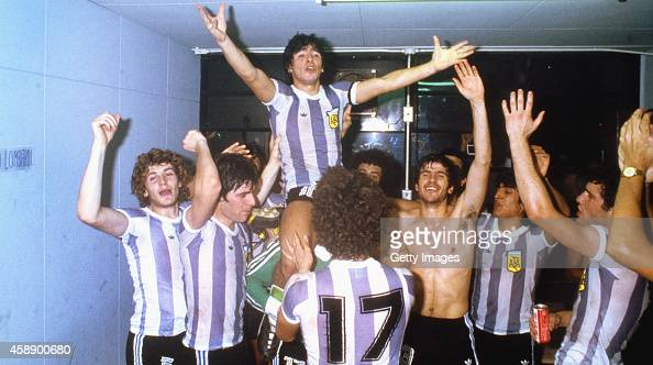 Argentina captain Diego Maradona celebrates on the shoulders of team mates after they had beaten Russia 31 to win the 1979 FIFA World Youth...