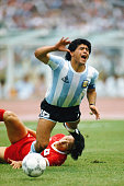 Argentina captain Maradona is fouled during the 1986 FIFA World Cup 31 defeat of South Korea at the Olympic stadium in Mexico City Mexico on June 2...
