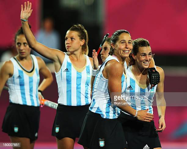 Argentina celebrate after winning the Women's Hockey semifinal match between Argentina and Great Britain on Day 12 of the London 2012 Olympic Games...