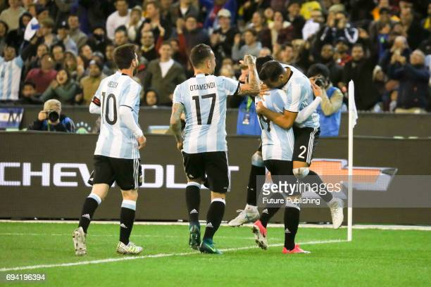 Argentina celebrate Gabriel Mercado's goal against Brazil in the Chevrolet Brasil Global Tour on June 9 2017 in Melbourne Australia Chris Putnam /...
