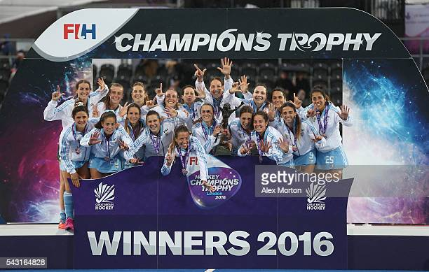Argentina celebrate on the stage with the tophy during the FIH Women's Hockey Champions Trophy 2016 final match between Netherlands and Argentina at...