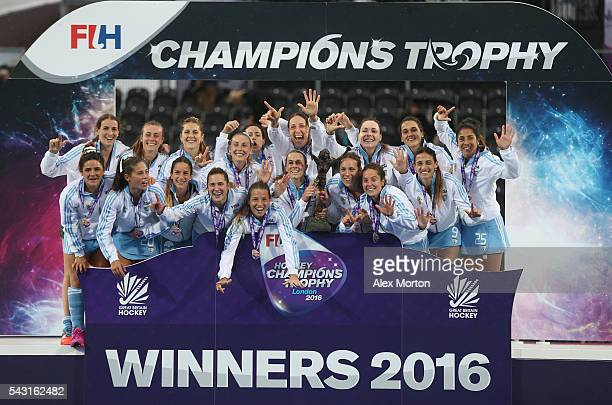 Argentina celebrate victory over Netherlands during the FIH Women's Hockey Champions Trophy 2016 final match between Netherlands and Argentina at...