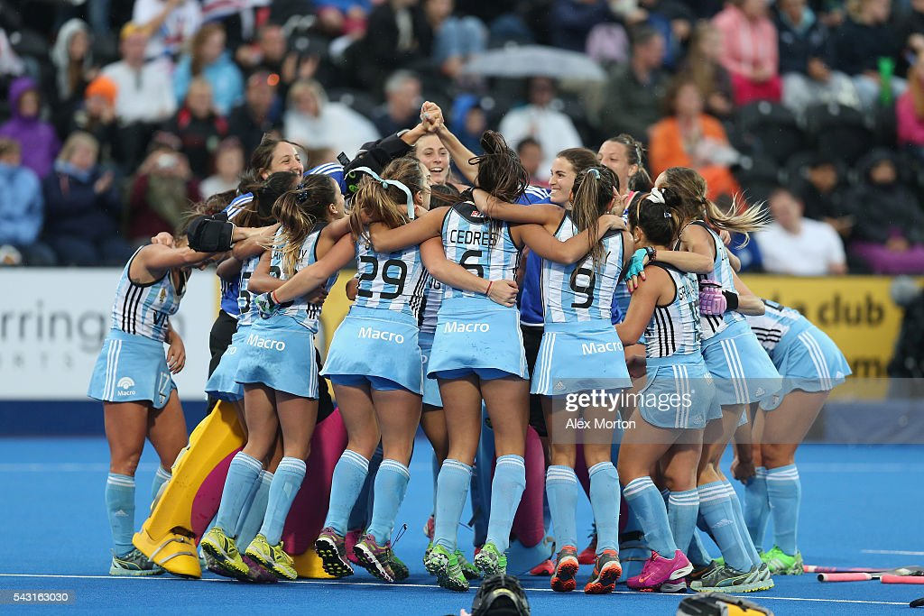 Argentina celebrate victory over Netherlands during the FIH Women's Hockey Champions Trophy 2016 final match between Netherlands and Argentina at Queen Elizabeth Olympic Park on June 26, 2016 in London, England.