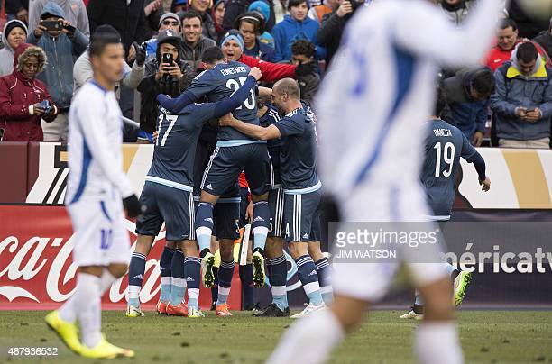 Argentina celebrates after Federico Mancuello scored a goal during an international friendly match against El Salvador at FEDEX Field in Landover...