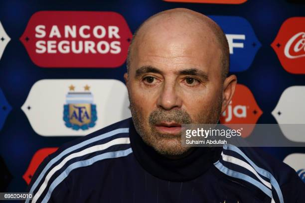 Argentina coach Jorge Sampaoli speaks during a prematch press conference at National Stadium on June 11 2017 in Singapore Argentina is scheduled to...