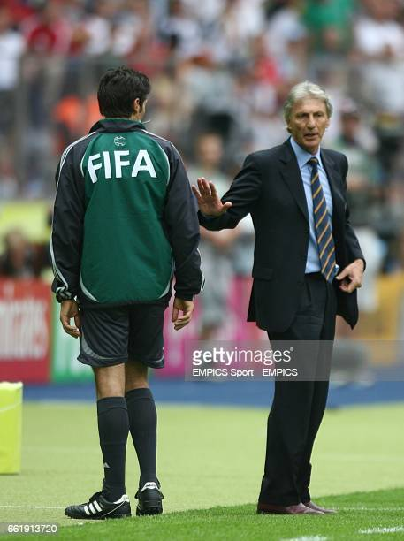 Argentina coach Jose Pekerman gestures to the fourth official