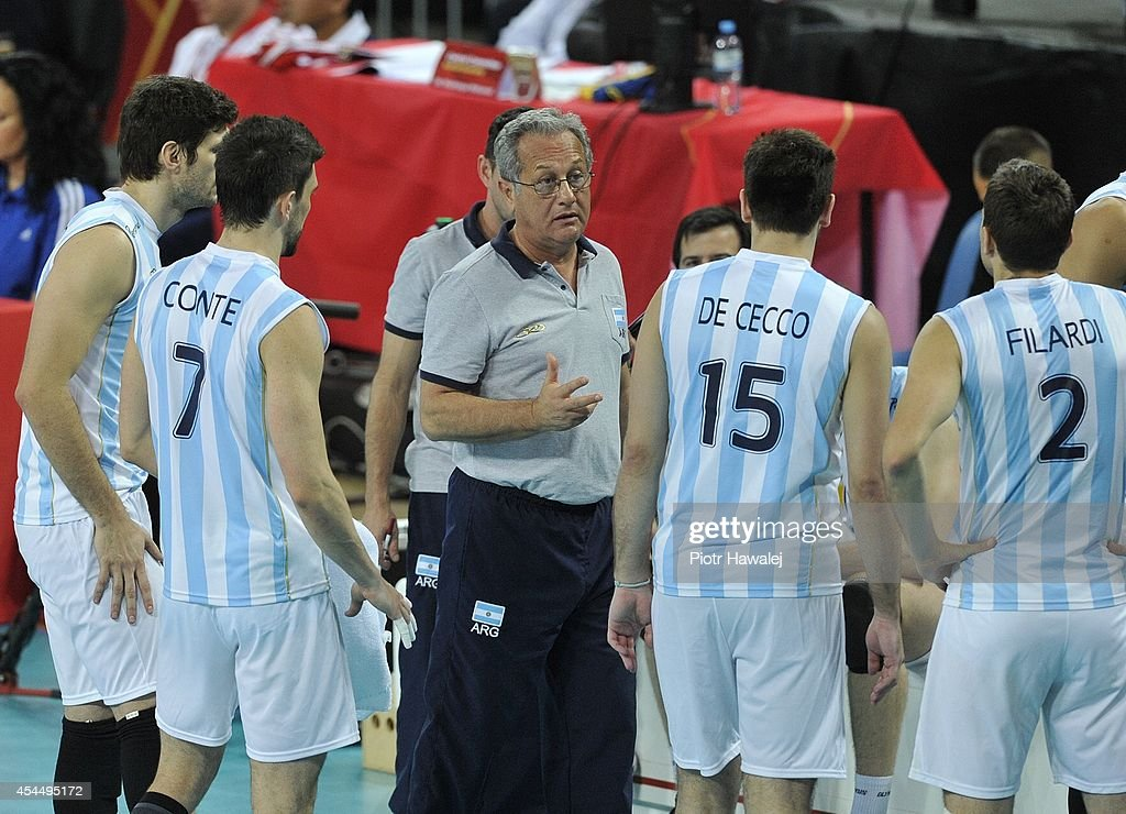 Argentina coach Julio Velasco gives the instructions during the FIVB World Championships match between Serbia and Argentina on September 2, 2014 in Wroclaw, Poland.