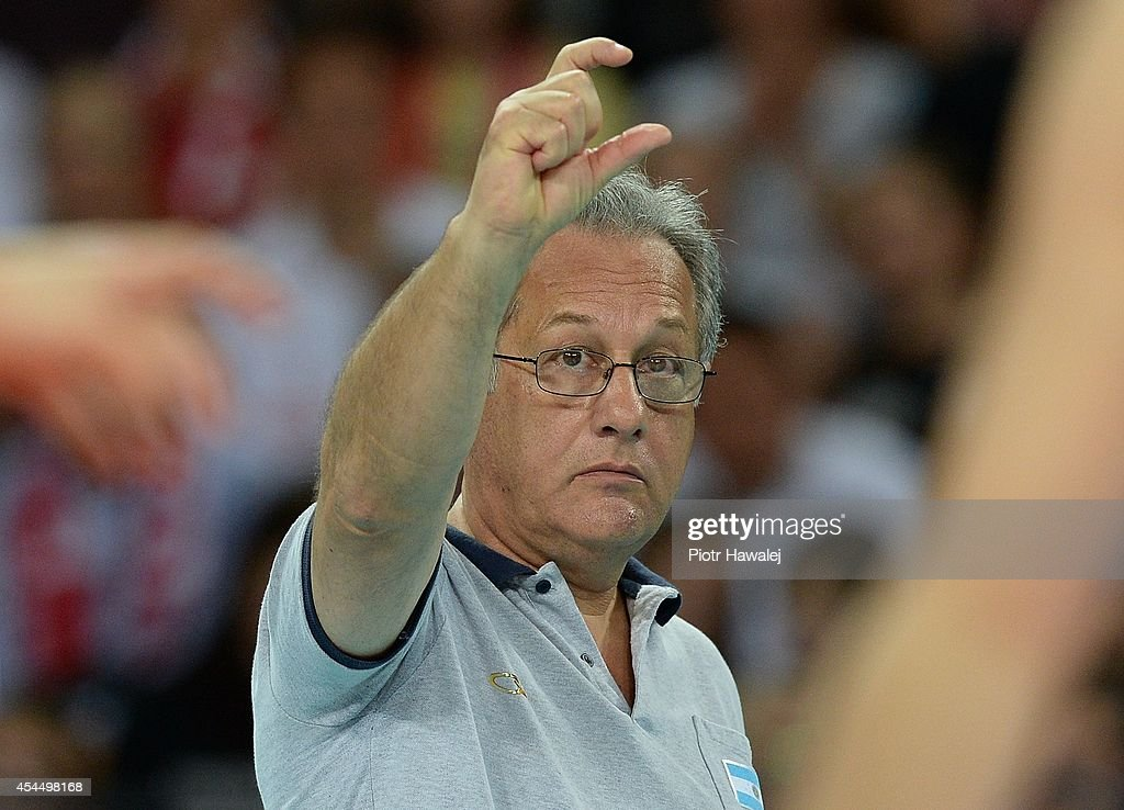 Argentina coach Julio Velasco reacts during the FIVB World Championships match between Serbia and Argentina on September 2, 2014 in Wroclaw, Poland.