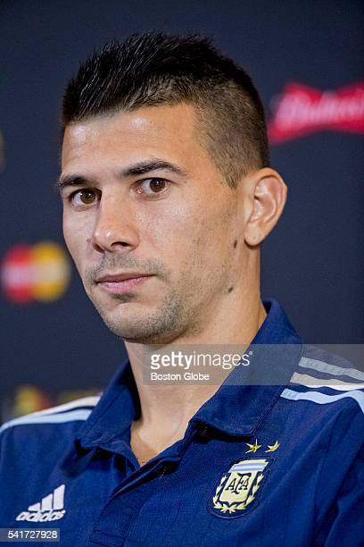 Argentina defender Victor Cuesta during a press conference at Gillette Stadium in Foxborough Mass on June 17 2016 Argentina will face Venezuela in a...