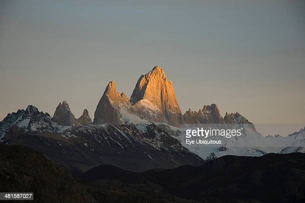 Argentina El Chalten Sunrise over Fitzroy mountain Trek from Glacier Chico to El Chalten