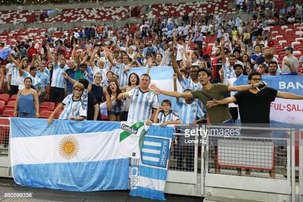 Argentina fans celebrate after the international friendly match between Argentina and Singapore at National Stadium on June 13 2017 in Singapore