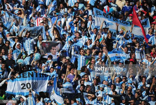 Argentina fans celebrate during the 2010 FIFA World Cup South Africa Group B match between Argentina and South Korea at Soccer City Stadium on June...