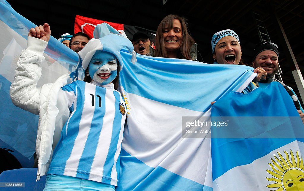 Argentina fans during the 2014 Junior World Championships match between Argentina and Australia at ECOLight Stadium, Pukekohe on June 2, 2014 in Auckland, New Zealand.